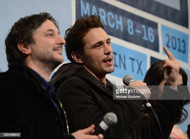 Director Harmony Korine and actor James Franco speak at the Q A for Spring Breakers during the 2013 SXSW Music Film Interactive at the Paramount...