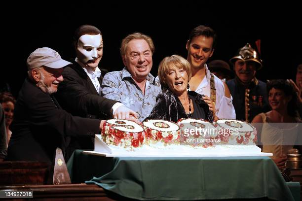 Director Harold Prince actor John Caudia composer Andrew Lloyd Webber choreographer Gillian Lynne and actor Ryan Silverman attend The Phantom of...