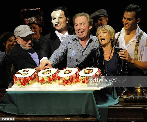 Director Harold Prince actor John Cudia composer Andrew Lloyd Webber choreographer Gillian Lynne and actor Ryan Silverman celebrate as they cut a...