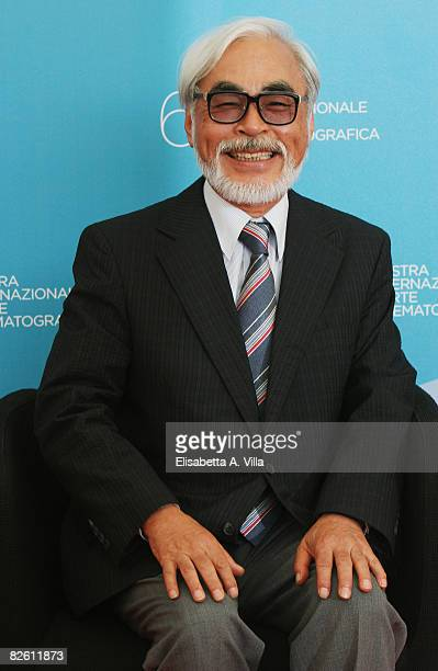 Director Hayao Miyazaki attends the 'Ponyo on the cliff by the Sea' photocall at the Piazzale del Casino during the 65th Venice Film Festival on...