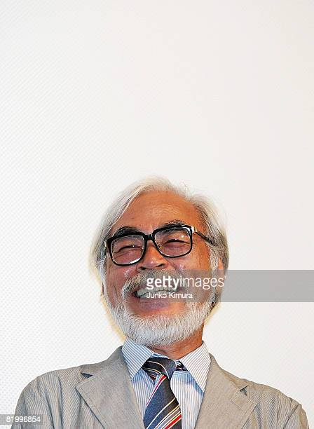 Director Hayao Miyazaki attends the 'Ponyo on the Cliff by the Sea' opening day stage greeting at Hibiya SukaraZa on July 19 2008 in Tokyo Japan The...