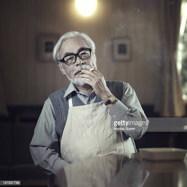 Director Hayao Miyazaki is photographed for Self Assignment on October 12 2010 in Tokyo Japan