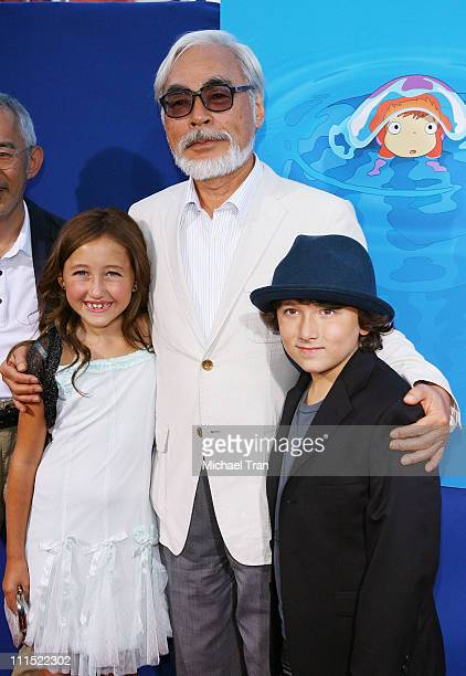 Director Hayao Miyazaki with actors Noah Cyrus and Frankie Jonas arrive to the special screening of 'Ponyo' held at the El Capitan Theatre on July 27...
