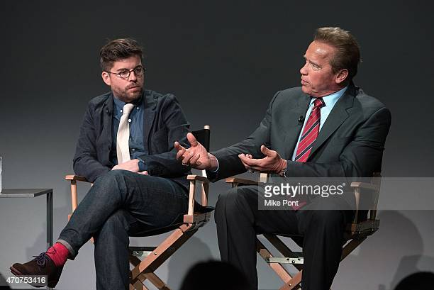 Director Henry Hobson and Actor Arnold Schwarzenegger attend Apple Store Soho Presents Tribeca Film Festival: Henry Hobson and Arnold Schwarzenegger,...