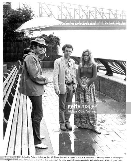 Director Henry Jaglom with actor Phil Proctor and actress Tuesday Weld on set for the Columbia Pictures movie A Safe Place in 1971