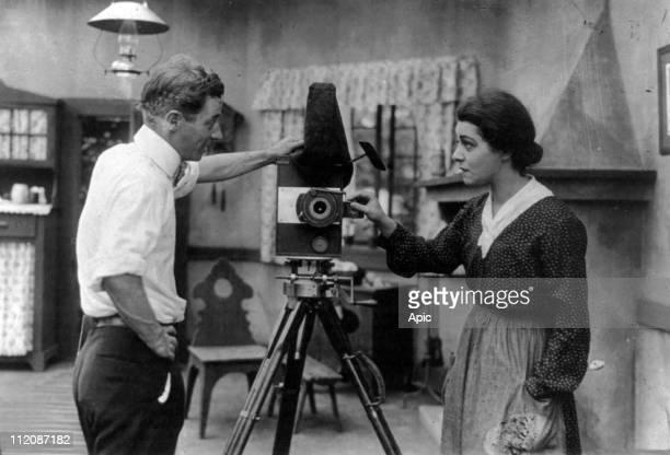 Director Herbert Brenon and actress Alla Nazimova on set of film 'War Brides' 1916