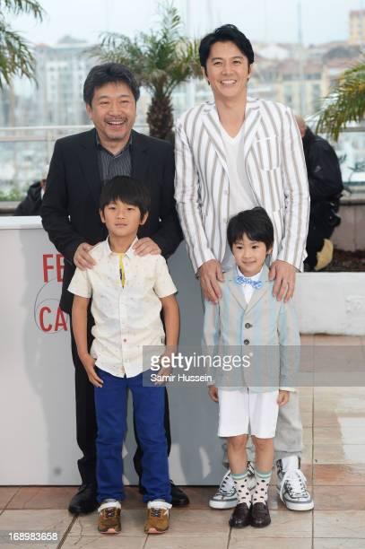 Director Hirokazu Koreeda actors Shogen Whang Keita Ninomiya and Masaharu Fukuyama attend the 'Soshite Chichi Ni Naru' Photocall during the 66th...