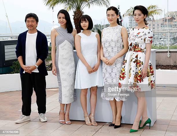 Director Hirokazu Koreeda actresses Masami Nagasawa Suzu Hirose Haruka Ayase and Kaho attend a photocall for 'Umimachi Diary' during the 68th annual...