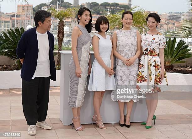 Director Hirokazu Koreeda and actresses Masami Nagasawa Suzu Hirose Haruka Ayase and Kaho attend the 'Umimachi Diary' photocall during the 68th...