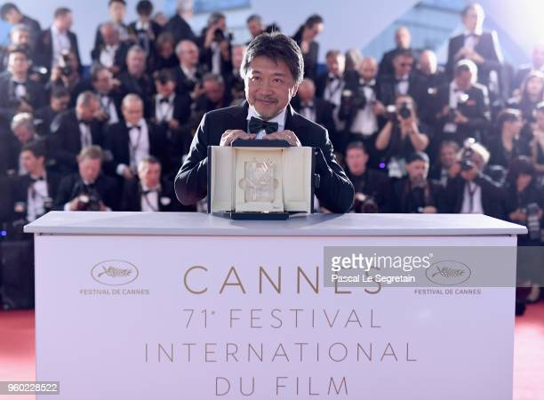 Director Hirokazu Koreeda attends the photocall for the Palme D'Or Winner during the 71st annual Cannes Film Festival at Palais des Festivals on May...