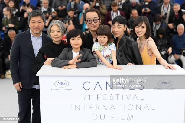 Director Hirokazu KoreEda Kirin Kiki Jyo Kairi Lily Franky Miyu Sasaki Sakura Ando and Matsuoka Mayu attend the photocall for Shoplifters during the...