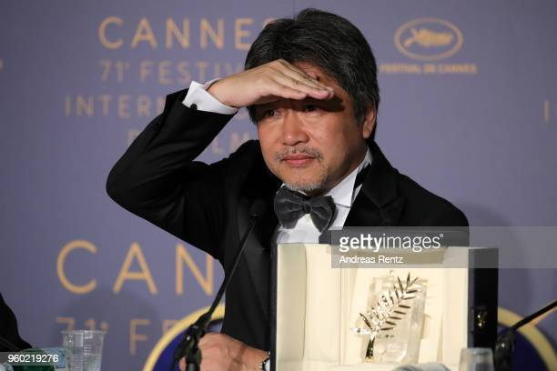 Director Hirokazu Koreeda winner of the Palme d'Or award for 'Shoplifters' attends the press conference for the Palme D'Or Winner during the 71st...