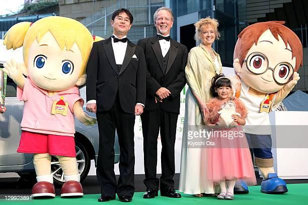 Director Hiroshi Nishikiori, Will Osborne, Mary Pope Osborne, original author of 'Magic Tree House', and actress Mana Ashida pose with its characters...