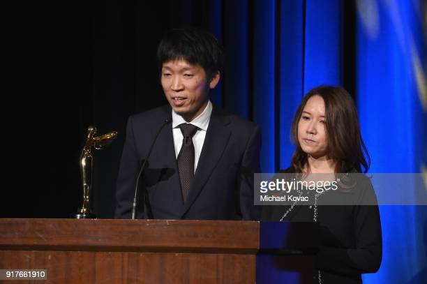 Director Hirotaka Nakayama accepts the Lumiere Award for Best VR Science Experience onstage at the Advanced Imaging Society 2018 Lumiere Awards...