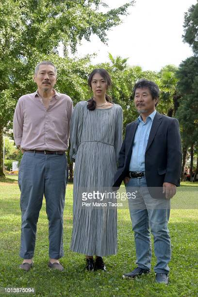 Director Hong Sangsoo Actress Kim Minhee and Actor Joobong Ki attend the 'Gangbyub Hotel' during the 71st Locarno Film Festival on August 9 2018 in...