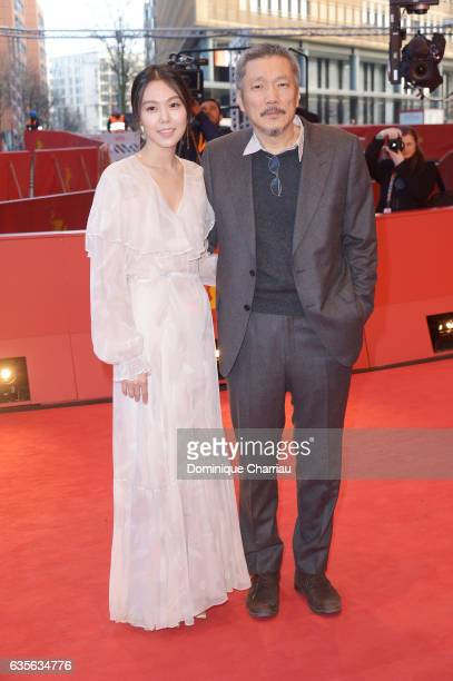 Director Hong Sangsoo and Actress Kim Minhee attend the 'On the Beach at Night Alone' premiere during the 67th Berlinale International Film Festival...