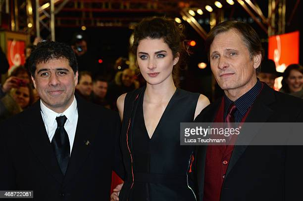 Director Hossein Amini actress Daisy Bevan and actor Viggo Mortensen attend 'The Two Faces of January' premiere during 64th Berlinale International...