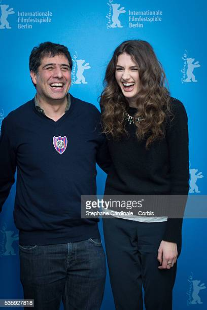 Director Hossein Amini and actress Daisy Bevan attend the 'The Two Faces of January' photocall during 64th Berlinale International Film Festival at...