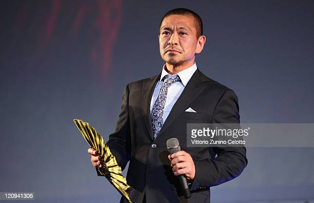 Director Hotoshi Matsumoto attends the 'Pardo alla Carriera' red carpet during the 64th Festival del Film di Locarno on August 12, 2011 in Locarno,...
