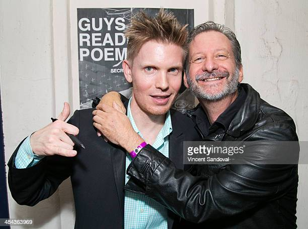 Director Hunter Lee Hughes and actor David Zimmerman attend the 'Guys Reading Poems' fundraiser at V Wine Bar on April 11 2014 in West Hollywood...