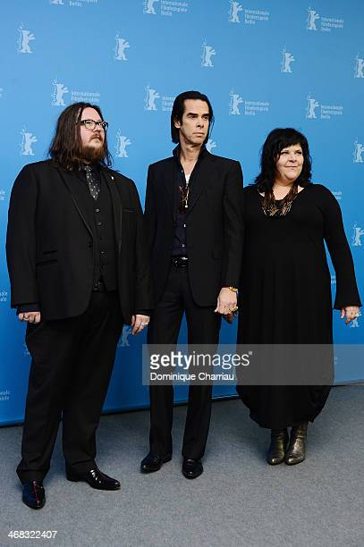 Director Iain Forsyth, actor and singer Nick Cave and director Jane Pollard attend the '20.000 Days on Earth' photocall during 64th Berlinale...