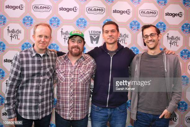 Director Ian Bricke Writer Macon Blair Director Jeremy Saulnier and Director Matt Levin attend Photo Call For The Fantastic Fest Screening Of The...