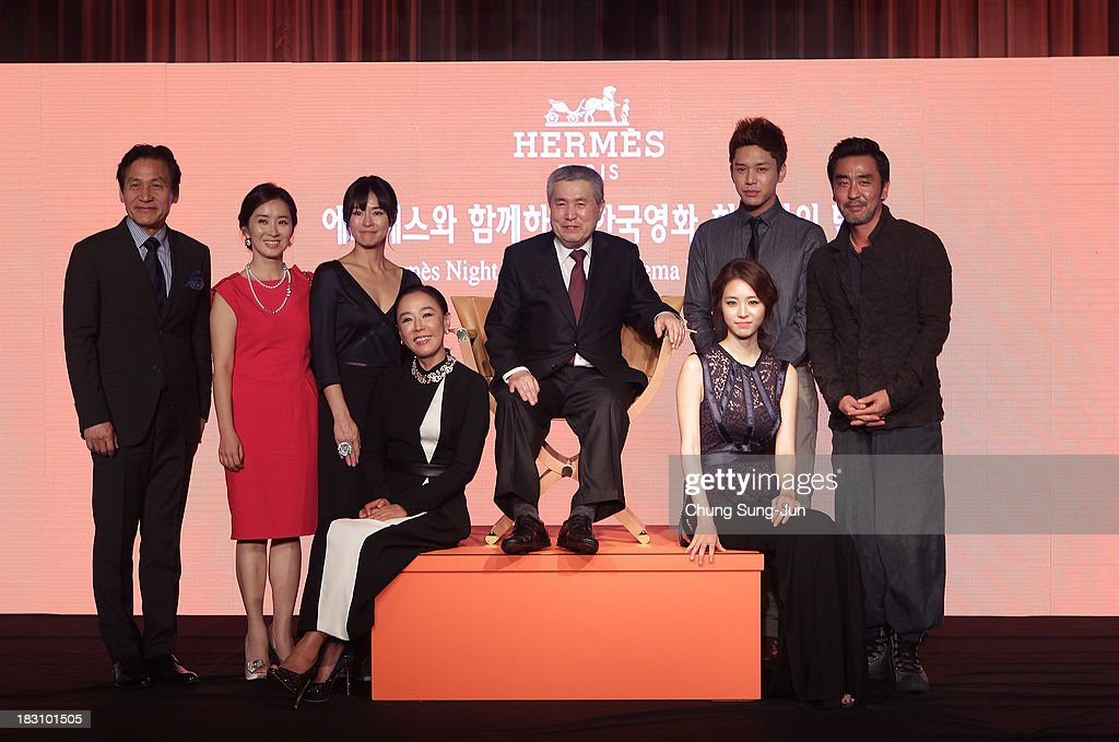 Director Im Kwon-Taek (C) and South Korean actors attend during a Korean Cinema Retrospective Night during the 18th Busan International Film Festival on October 4, 2013 in Busan, South Korea.