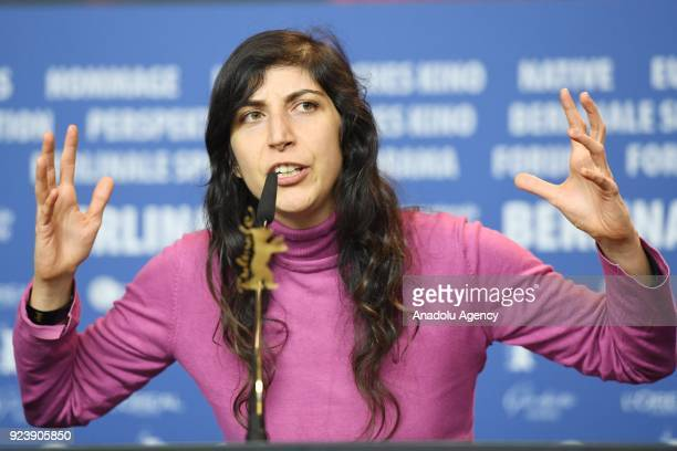 Director Ines Moldavsky winner of the Golden Bear for Best Short Film for the movie 'The Men Behind the Walls' speaks at a press conference after the...