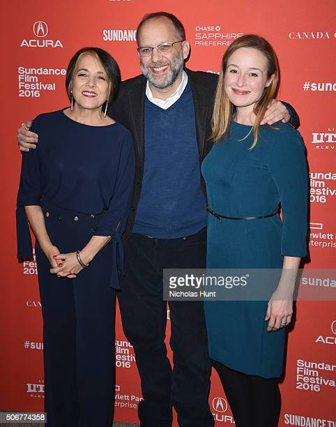 Director Ira Sachs poses with actors Paulina Garcia and Jennifer Ehle at the 'Little Men' Premiere during the 2016 Sundance Film Festival at Eccles...