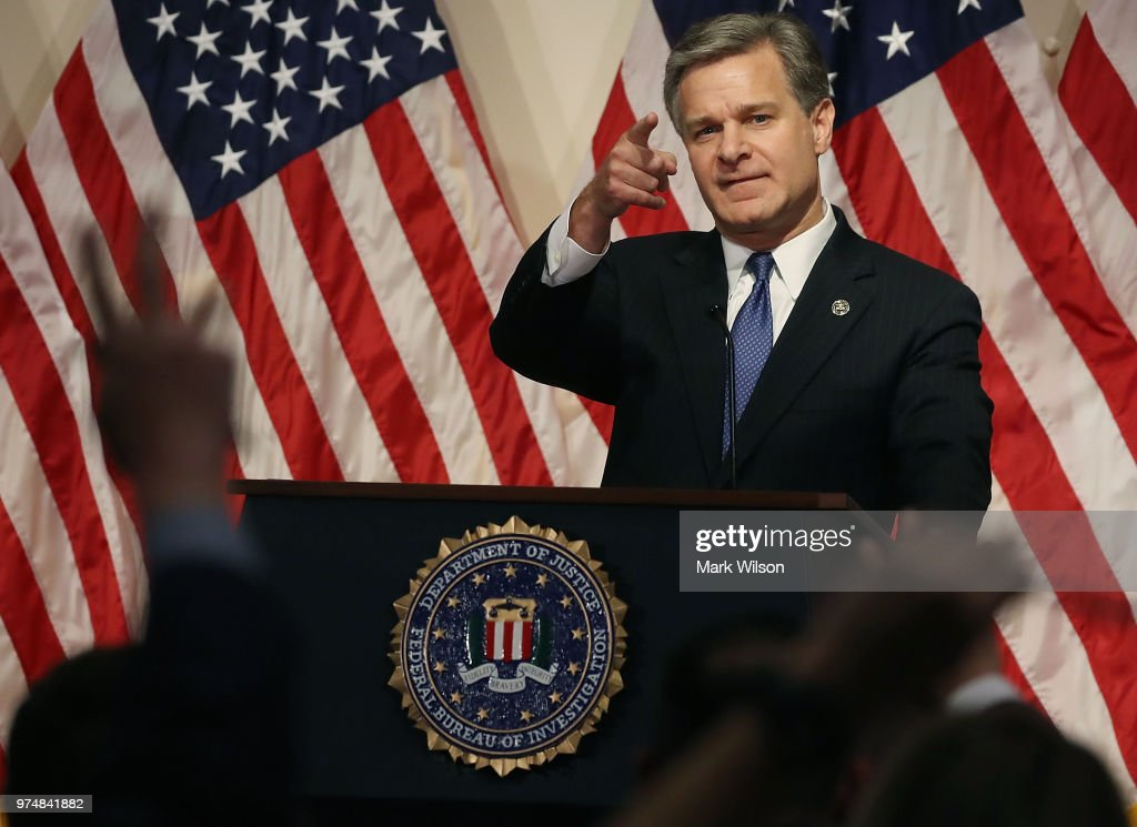 FBI Director Wray Holds News Conference After Justice Department IG Releases Report On Comey's Handling Of Clinton Emails Investigation : News Photo