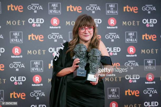 Director Isabel Coixet holds the best adapted screenplay and the best director awards for the film la Libreria during the 32nd edition of the Goya...