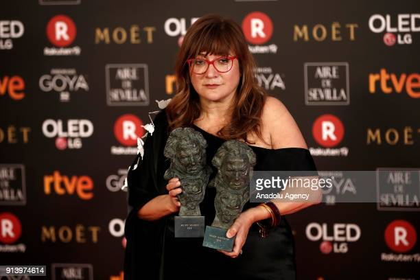 Director Isabel Coixet poses with her award with the movie 'Libreria' during the 32th edition of the Goya Awards ceremony in Madrid Spain on February...