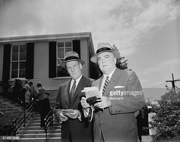 FBI Director J Edgar Hoover and his assistant Clyde Tolson at Pilmico Race Track MD for running of preakness