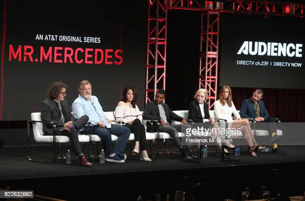 Director Jack Bender Brendan Gleeson MaryLouise Parker Jharrel Jerome Kelly Lynch and Harry Treadaway of 'Mr Mercedes' speak onstage during the ATT...