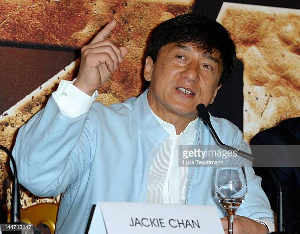 Director Jackie Chan poses at the 'Chinese Zodiac' photocall during the 65th Annual Cannes Film Festival at Carlton Hotel on May 18 2012 in Cannes...
