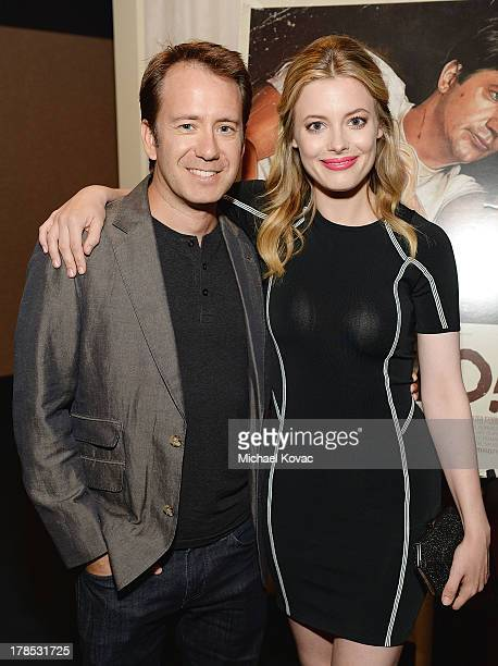 Director Jacob Vaughan and actress Gillian Jacobs attend the Los Angeles Premiere of Bad Milo at ArcLight Cinemas on August 29 2013 in Hollywood...