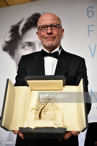 Director Jacques Audiard winner of the Palme d'Or for his film 'Dheepan' attends the Palm D'Or Winners press conference during the 68th annual Cannes...