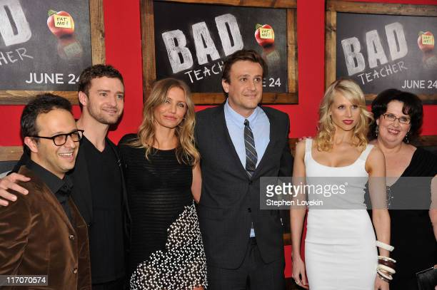 """Director Jake Kasdan and actors Justin Timberlake; Cameron Diaz, Lucy Punch and Phyllis Smith attend the premiere of """"Bad Teacher"""" at the Ziegfeld..."""
