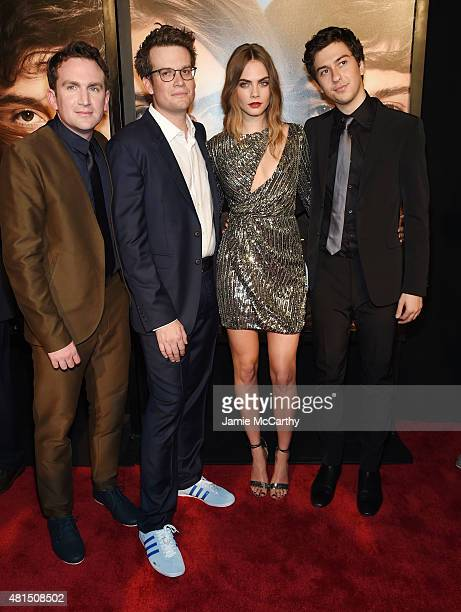 Director Jake Schreier writer John Green actors Cara Delevingne and Nat Wolff attend the New York premiere of Paper Towns at AMC Loews Lincoln Square...