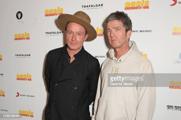 """Director Jake Scott and Noel Gallagher attend the World Premiere of """"Oasis Knebworth 1996"""" at the Picturehouse Central on September 16, 2021 in..."""