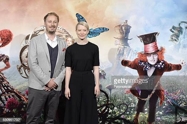 Director James Bobin and actress Mia Wasikowska attend a photocall for 'Alice Through The Looking Glass' at the Santo Mauro Hotel on May 12 2016 in...