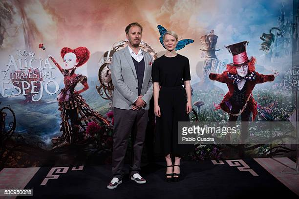 Director James Bobin and actress Mia Wasikowska attend the 'Alice Through The Looking Glass' photocall at the Santo Mauro Hotel on May 12 2016 in...