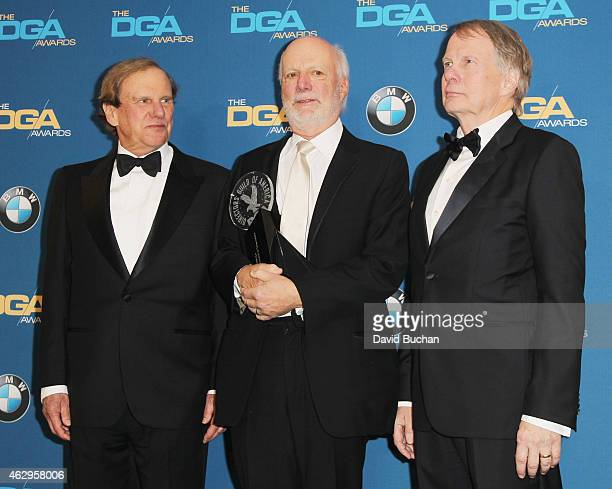 Director James Burrows winner of the Lifetime Achievement in Television Direction Award poses with producers Glen Charles and Les Charles in the...