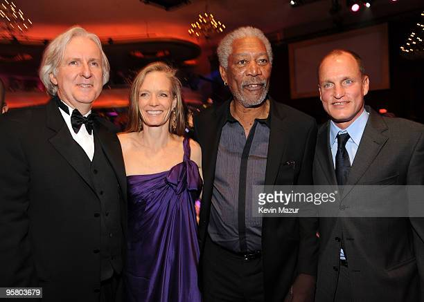 Director James Cameron and actors Suzy Amis, Morgan Freeman and Woody Harrelson during the 15th annual Critics' Choice Movie Awards held at the...