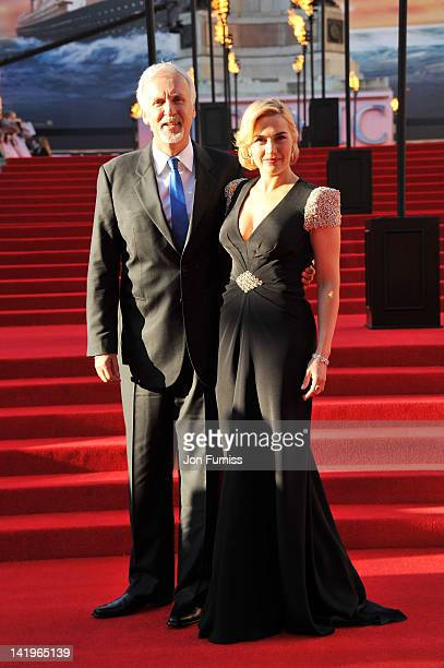 Director James Cameron and actress Kate Winslet attend the Titanic 3D world premiere at the Royal Albert Hall on March 27 2012 in London England
