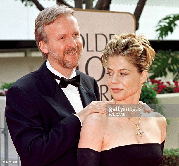 Director James Cameron and actress Linda Hamilton arrive for the 55th Annual Golden Globe Awards 18 January at the Beverly Hilton in Beverly Hills CA...