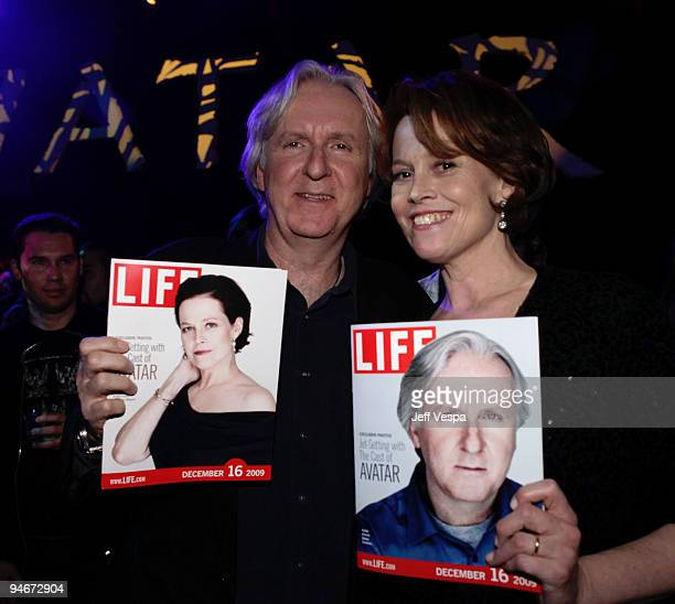 Director James Cameron and actress Sigourney Weaver attend the after party for the 'Avatar' Los Angeles premiere at Propr Store on December 17 2009...