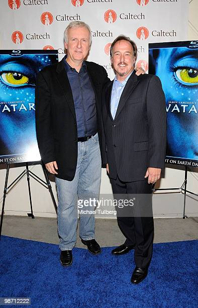 Director James Cameron and Executive VicePresident of Twentieth Century Fox Home Entertainment Simon Swart arrive at 'Is Pandora Possible' a...