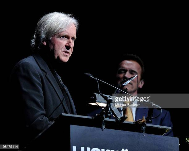 Director James Cameron and Governor Arnold Schwarzenegger attend the Lucky Denim Modern Master Award at the 25th Annual Santa Barbara International...