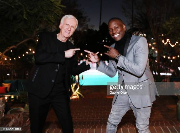 Director James Cameron and Tyrese Gibson attend Red Carpet Green Dress at the Private Residence of Jonas Tahlin CEO of Absolut Elyx on February 06...